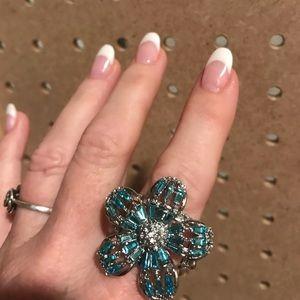 Aquamarine and crystal flower ring/large back